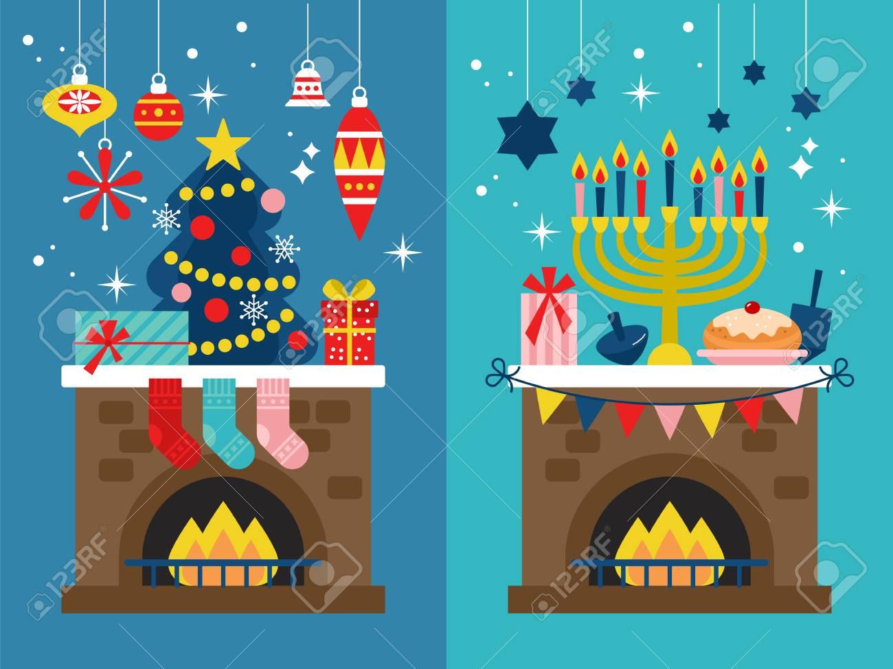 Christmas Hannakah.Christmas And Hanukkah Holiday Banner Design