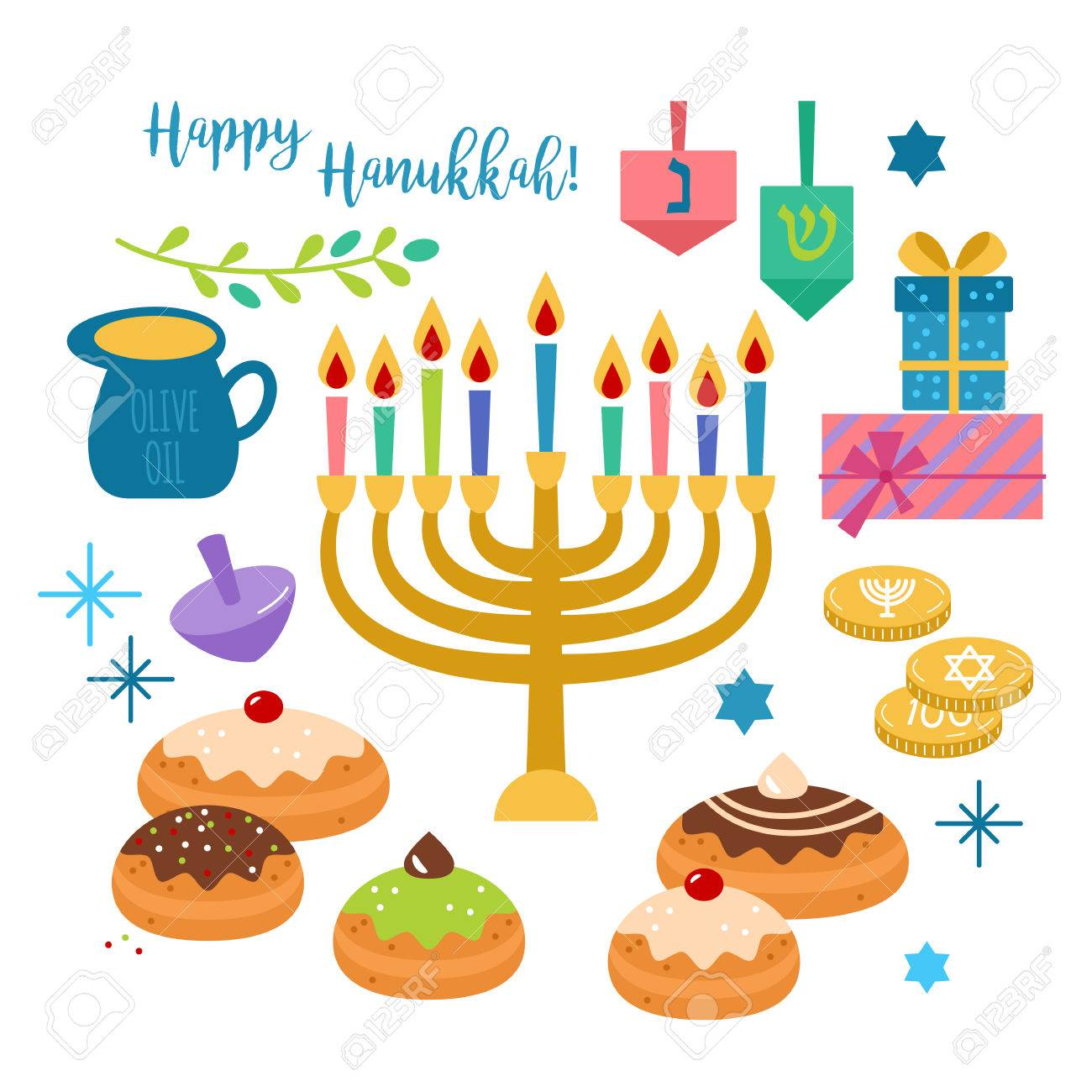 Hanukkah jewish holiday elements for graphic and web design on hanukkah jewish holiday elements for graphic and web design on white background isolated vector illustration kristyandbryce Images