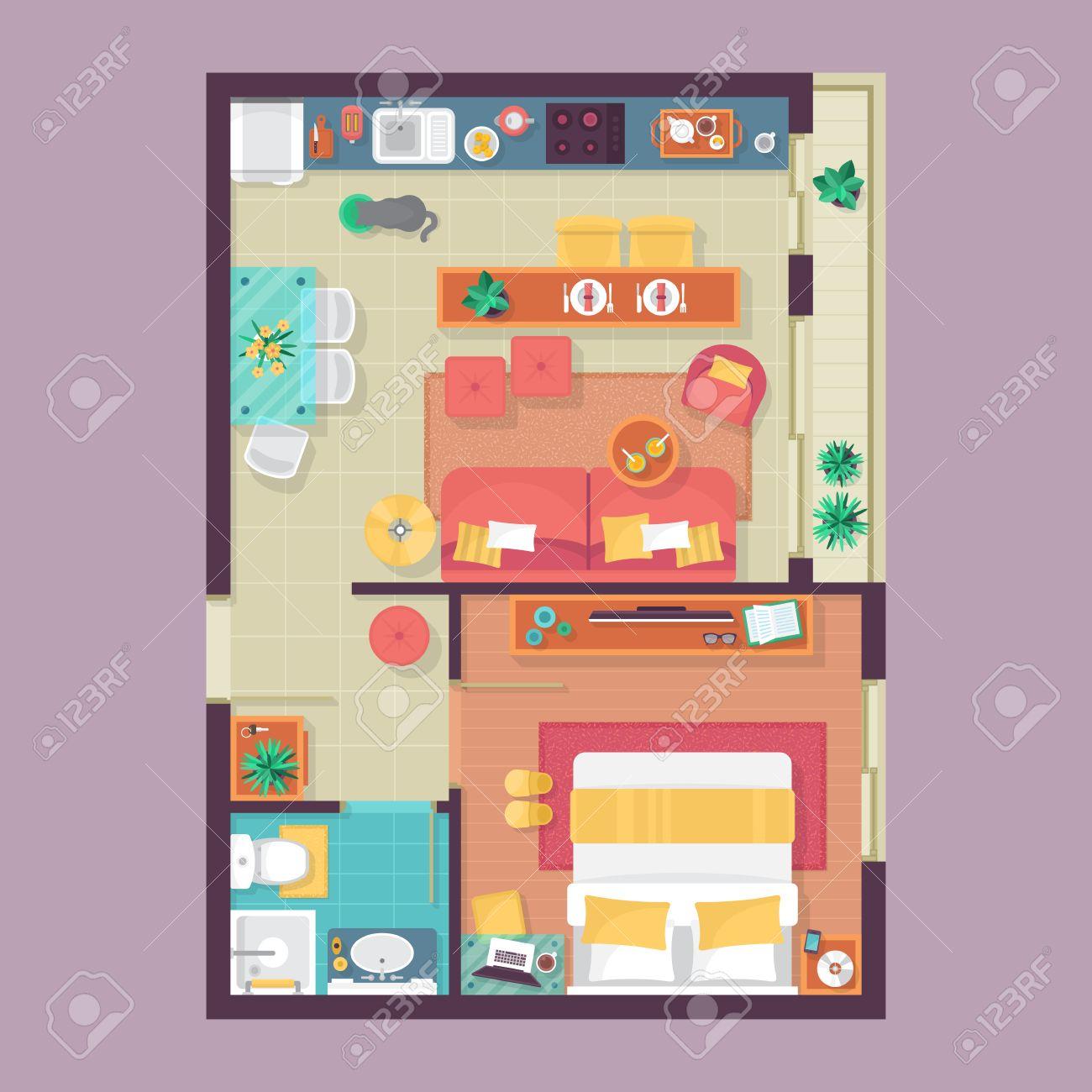 apartamento planta vista desde arriba juego de muebles para el diseo de interiores ilustracin