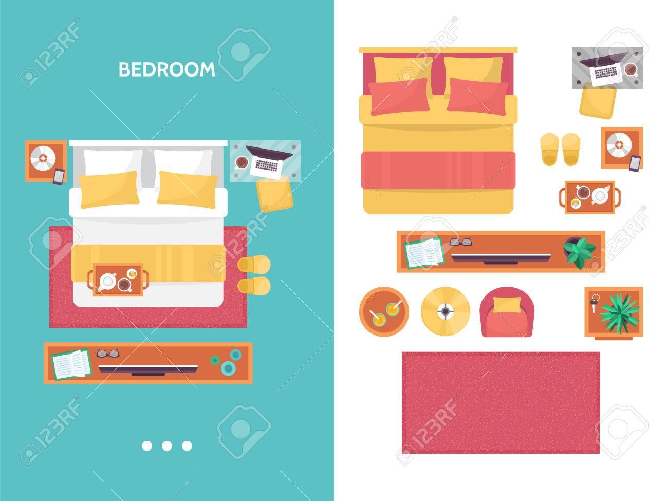 Bedroom Floor Plan Top View Furniture Set For Interior Design