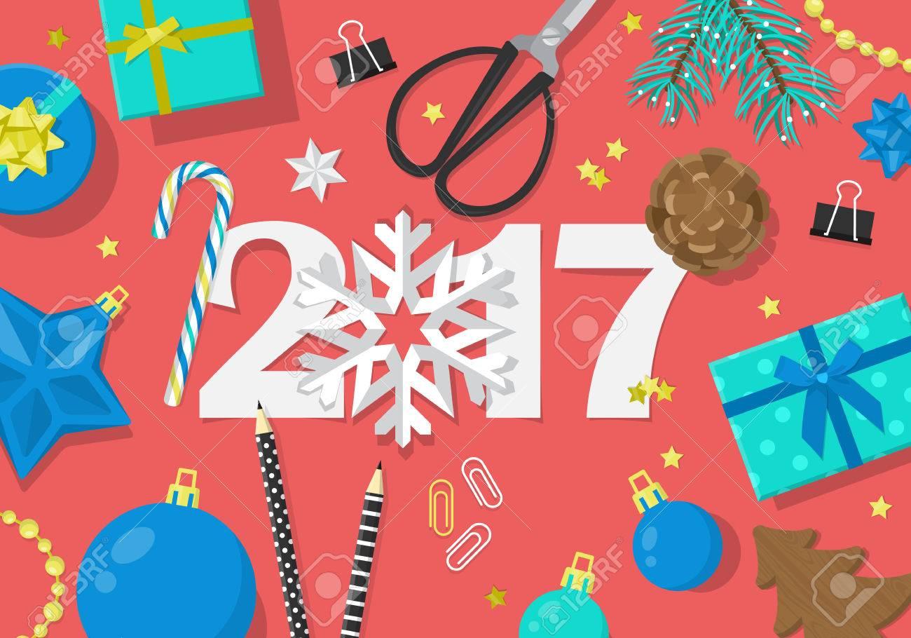 Happy New Year 2017 Creative Banner Design In Flat Modern Style