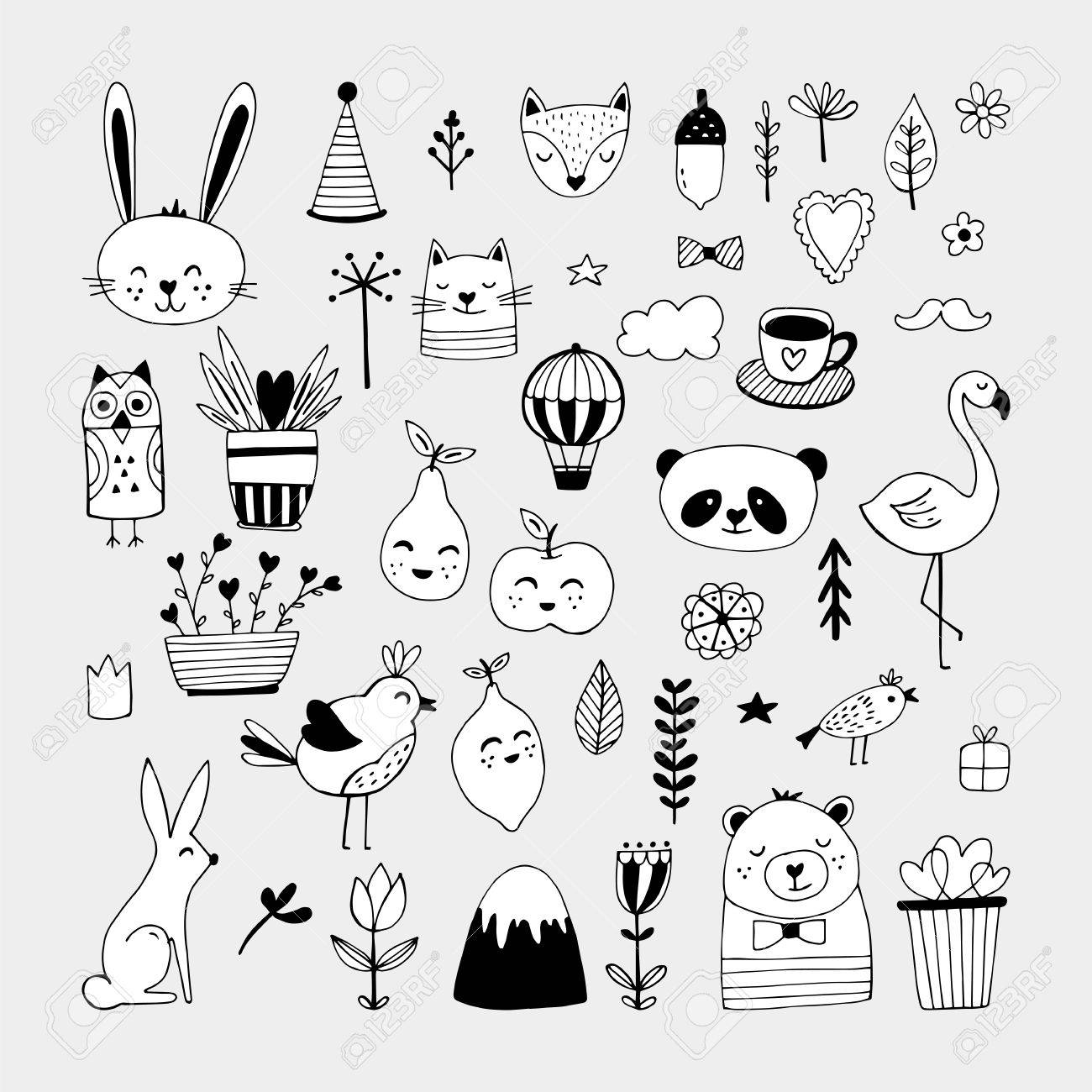 Modern cute animals and nature elemets black and white hand drawn