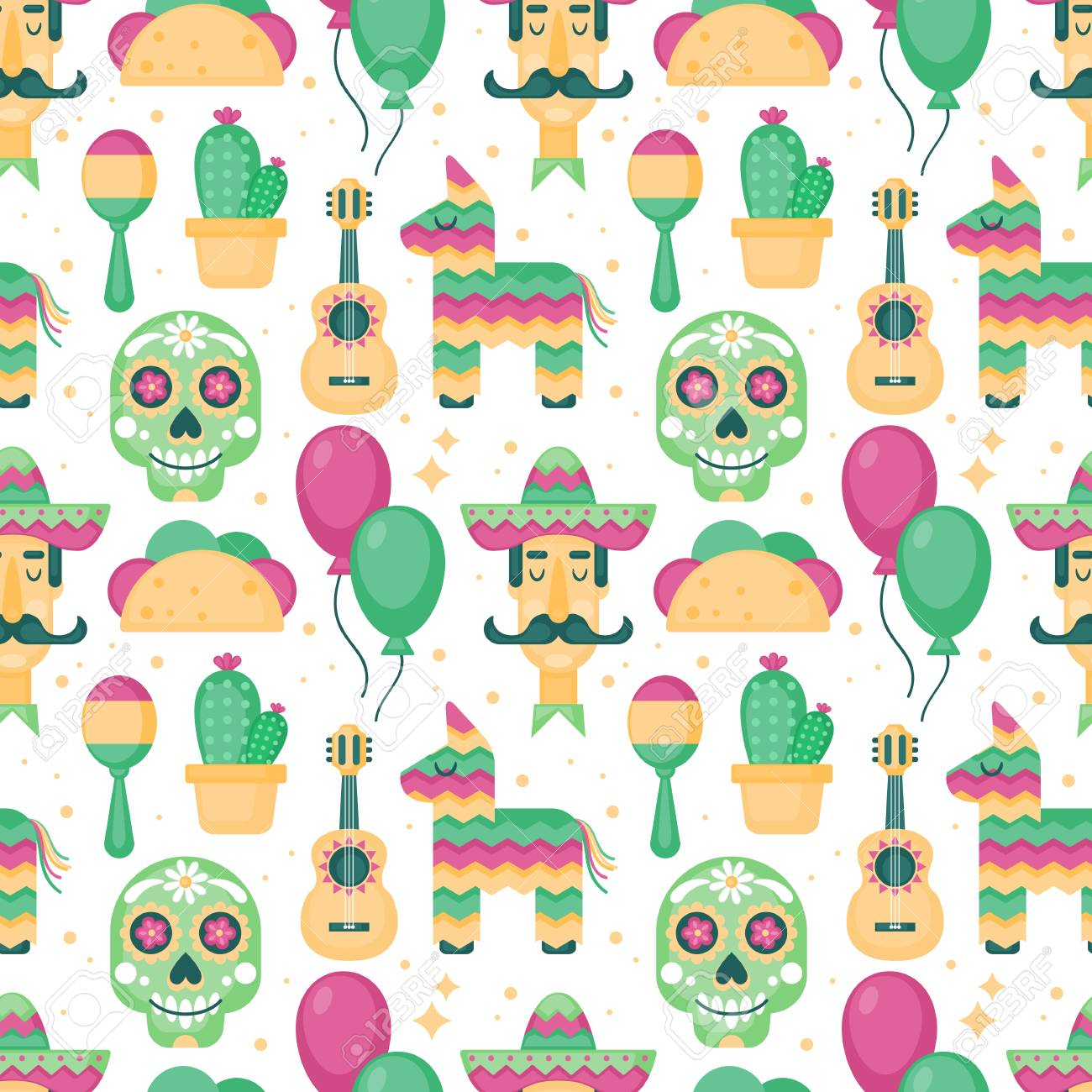 Cinco De Mayo Mexican Holiday Seamless Pattern Background Stock Vector