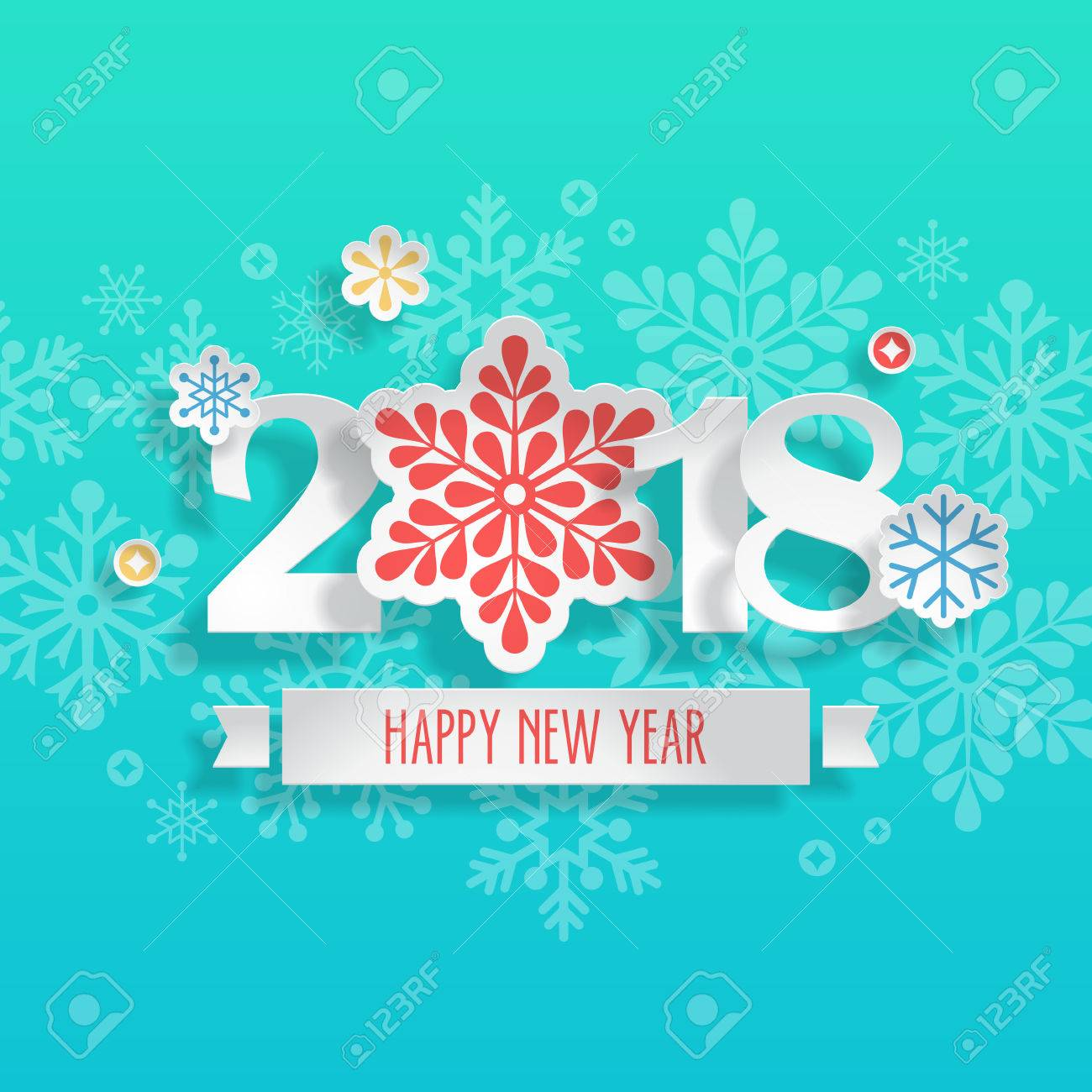 happy new year 2018 banner design with paper cut snowflakes stock vector 82177441