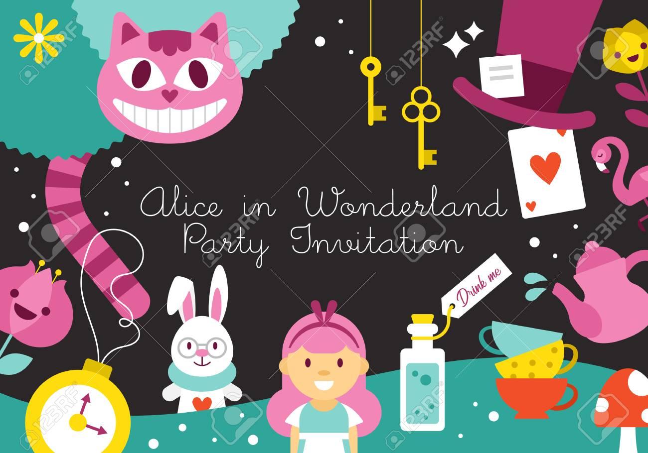 Alice In Wonderland Birthday Party Invitation Design Vector