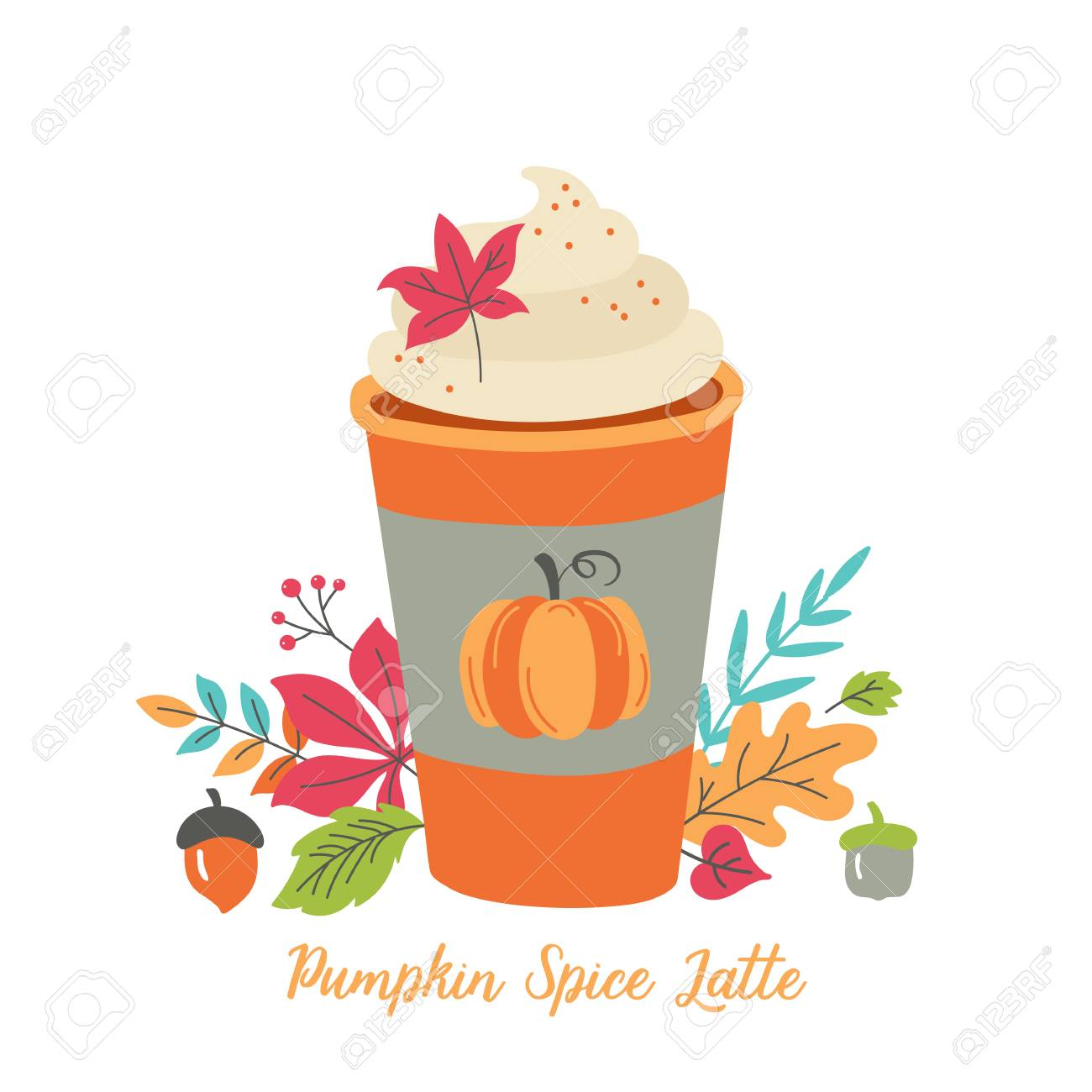 Pumpkin spice latte coffee cup for autumn menu or greeting card design. Vector illustration - 110106035