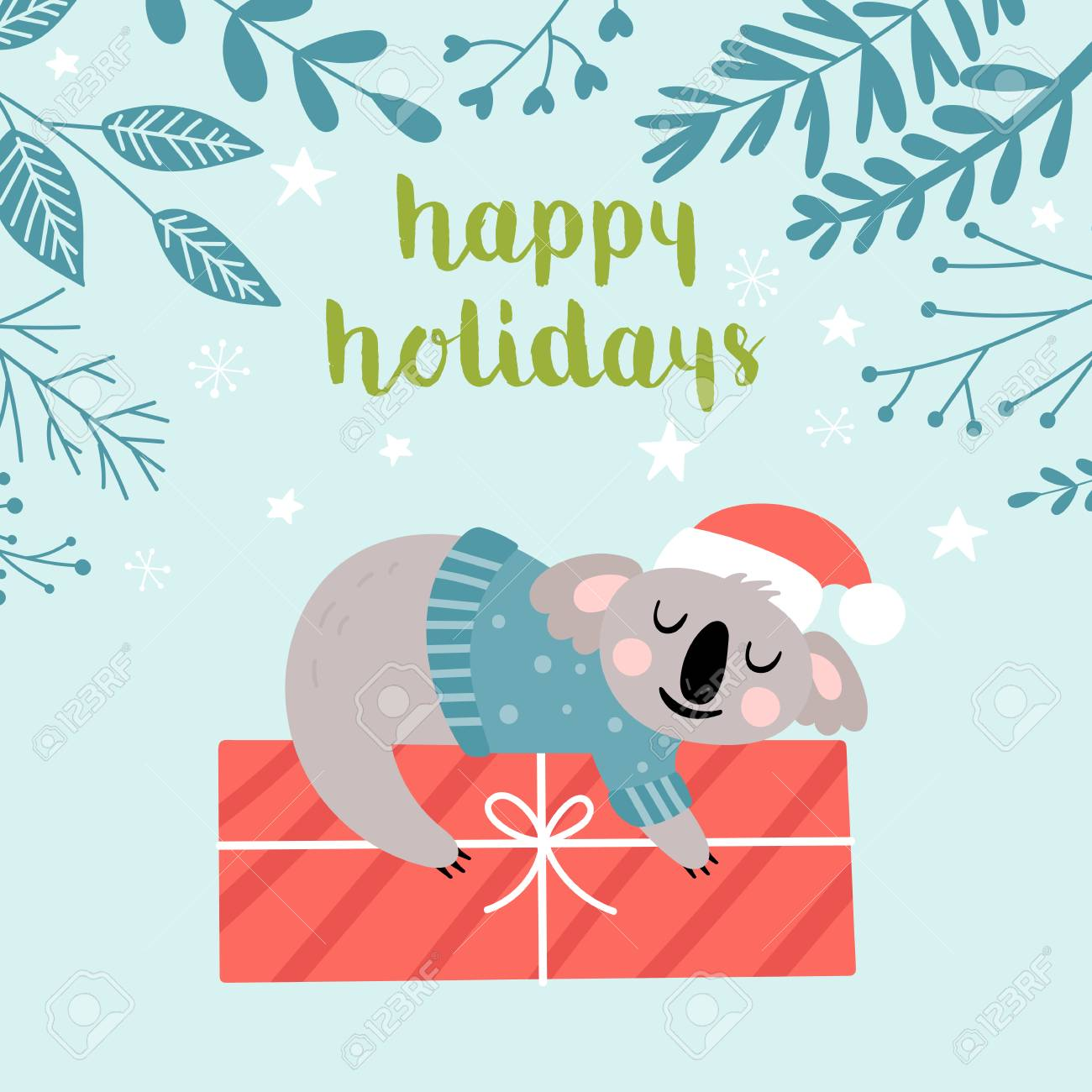 Christmas Cards To Print.Cute Koala Character Christmas Card Childish Print For T Shirt