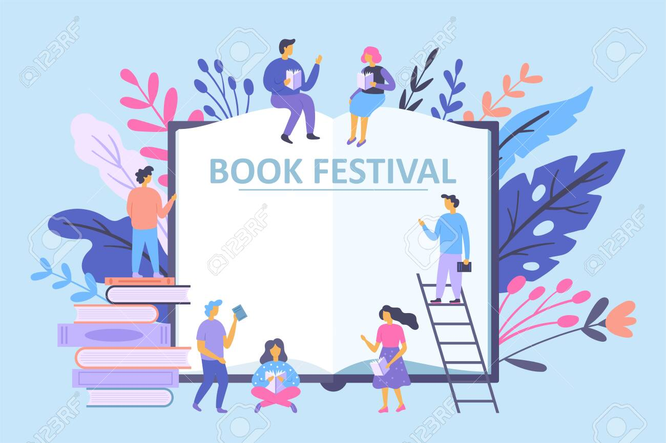 book festival concept with small characters people reading books royalty free cliparts vectors and stock illustration image 128446703 book festival concept with small characters people reading books
