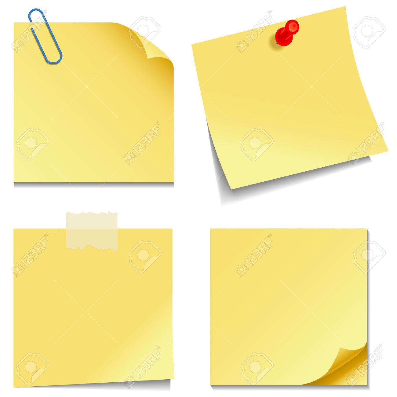 Sticky Notes - Set of yellow sticky notes isolated on white background - 23103053