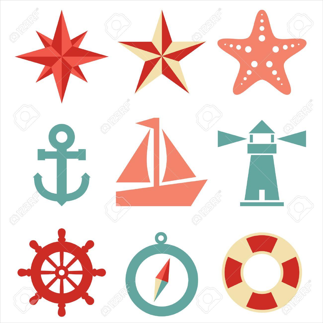 Iconos náutico Un conjunto de 9 iconos de temática náutica Cada icono es un grupo independiente