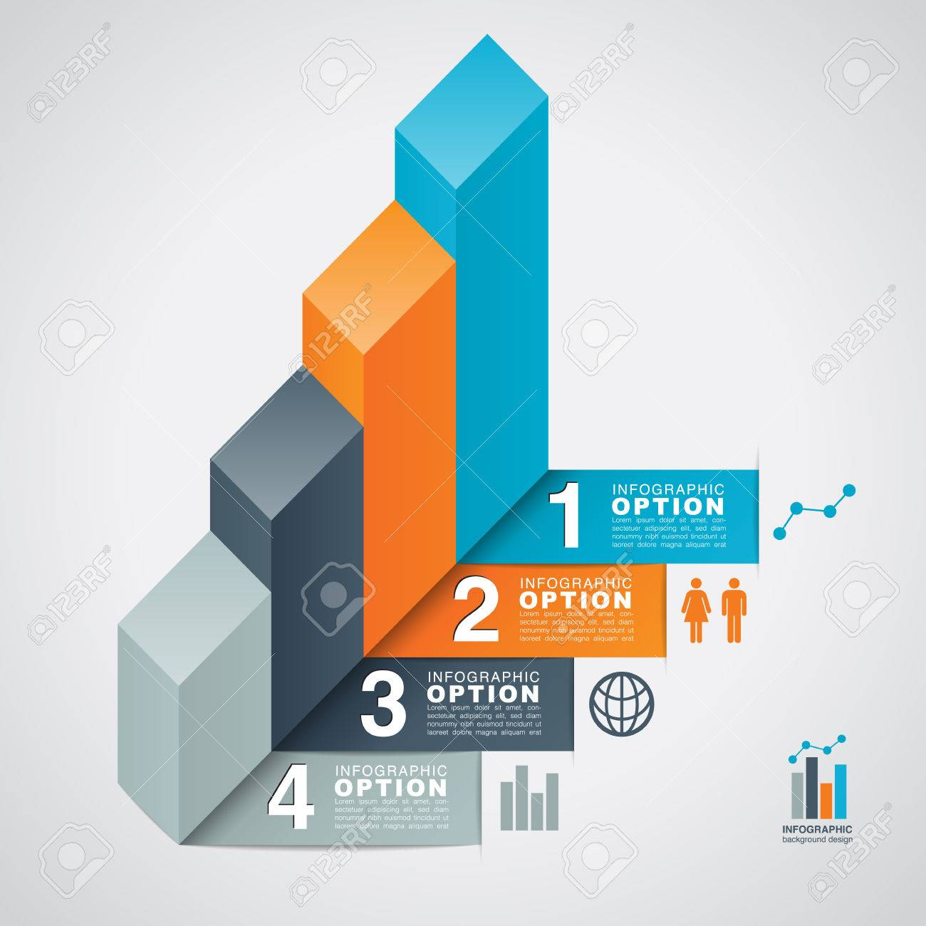 bar graph infographic option background - infographic option