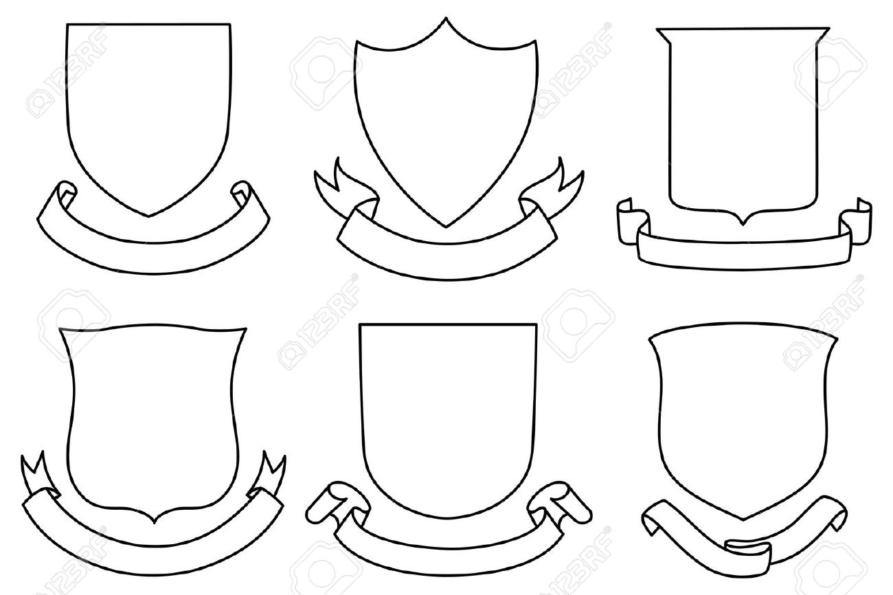 Shields and Banners Set - A set of shield and banner shapes - 31675697