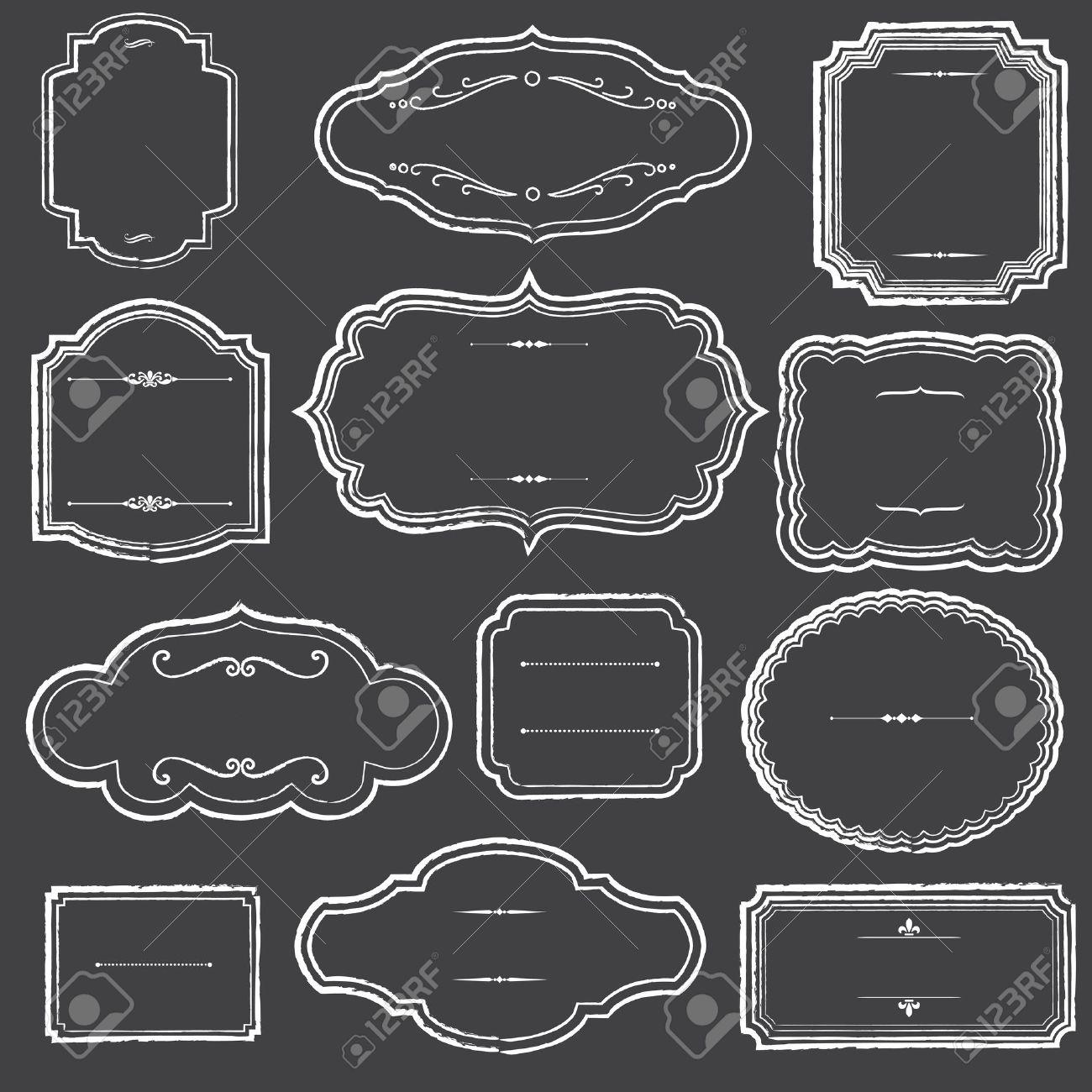 banco de imagens quadro frames e ornamentos conjunto de quadro de giz e etiqueta formas