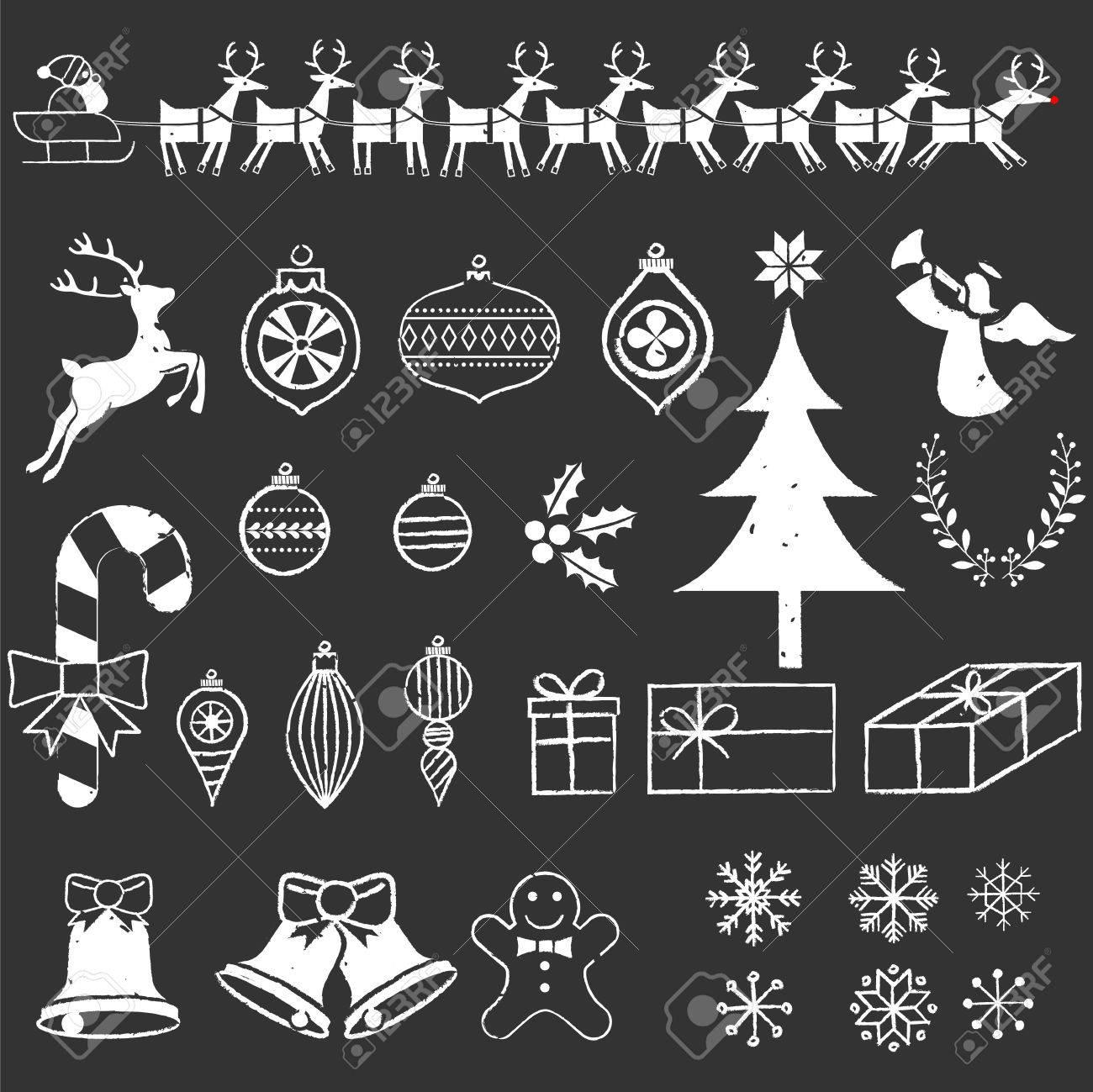 Disegni Di Natale Vettoriali.Lavagna Elements Natale Gesso Disegni Di Natale Disegnati A Mano File E Stratificato Ed Ogni Oggetto E Raggruppato Per Un Facile Montaggio