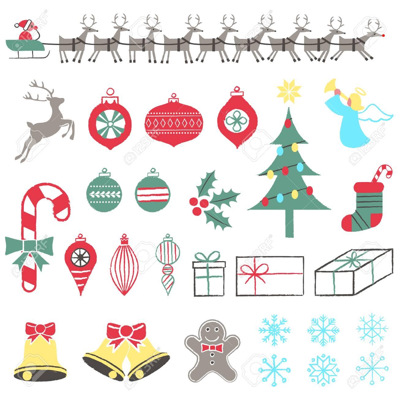 Disegni Di Natale Vettoriali.Retro Elementi Di Natale Disegni Di Natale Disegnati A Mano Il File E Stratificato E Ogni Oggetto E Raggruppato Per Una Facile Modifica