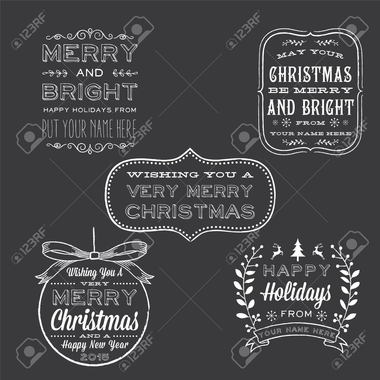 Holiday Chalkboard Greetings Christmas And New Years Holiday