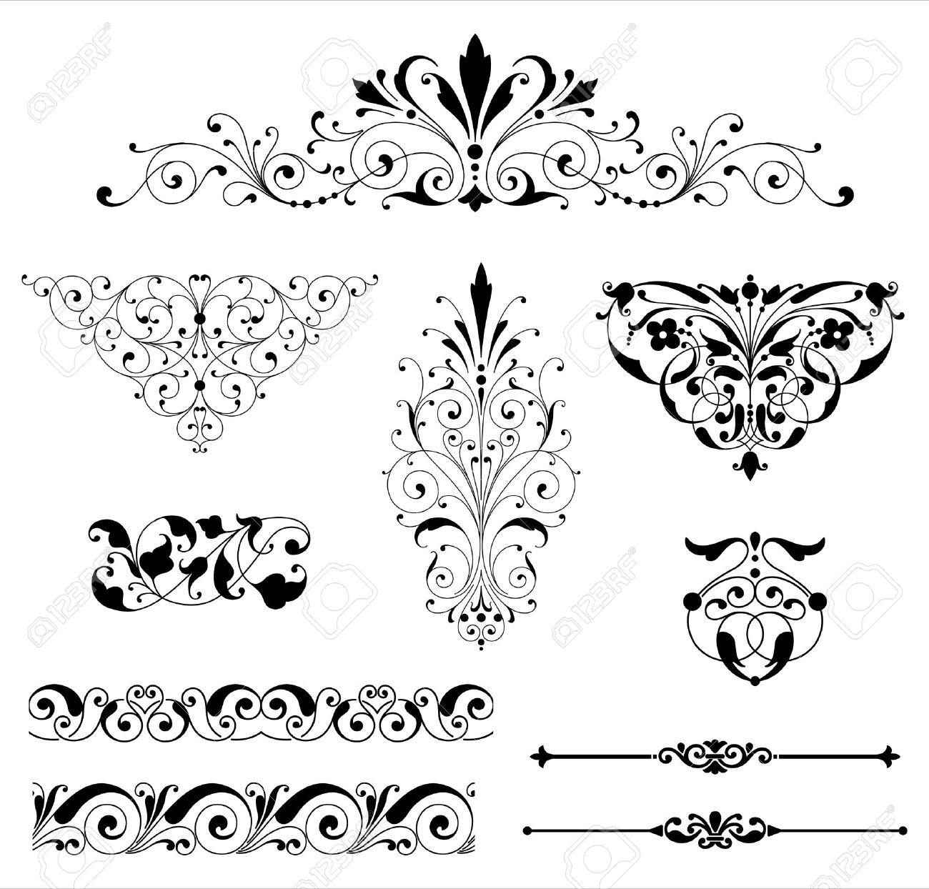 ornament set set of black vector ornaments scrolls repeating rh 123rf com vector ornaments illustrator vector ornaments designs laser wood
