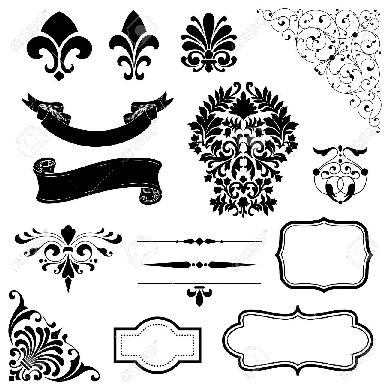 Ornamento Set - Conjunto De Adornos Negros Vector - Rollos, Banderas ...