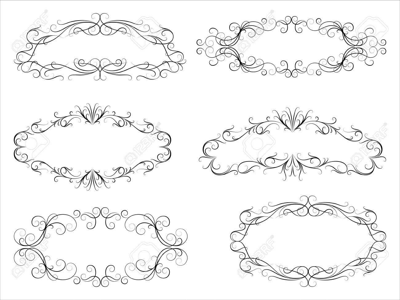 Calligraphic Scroll Frames - Set Of Six Vintage Frames. Each ...