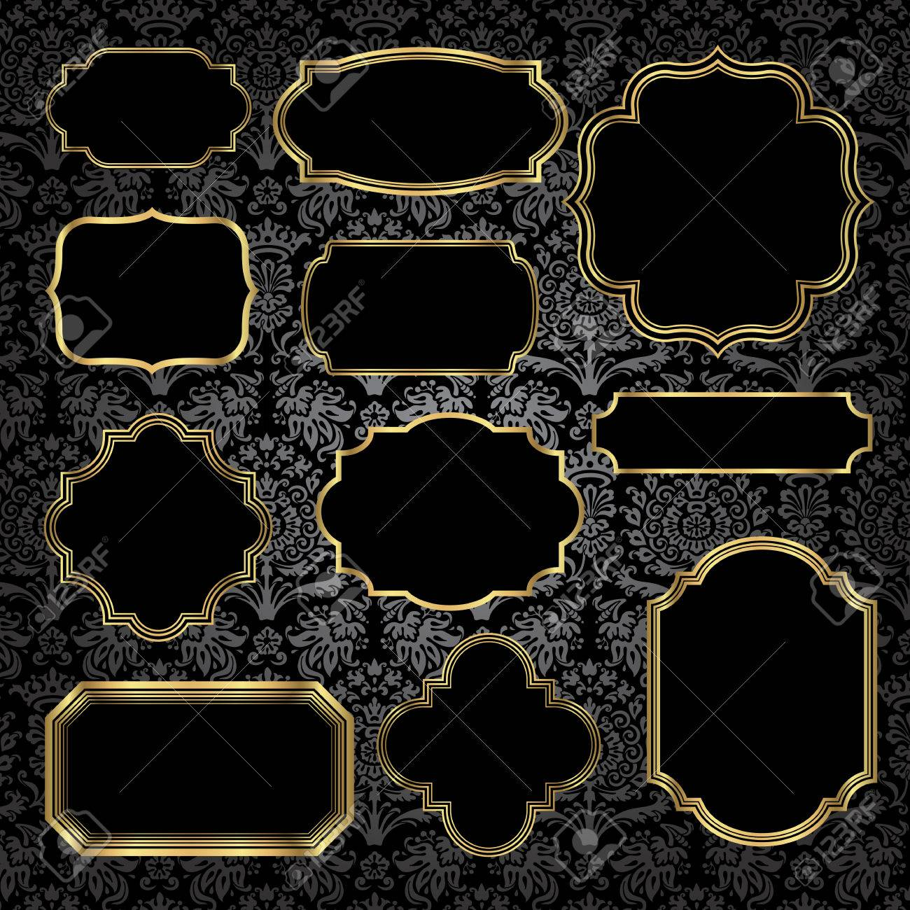 8721bc011185 Gold Vintage Frames on Damask Background - Set of gold vintage frame and label  shapes on seamless damask background. Damask background is behind a  clipping ...