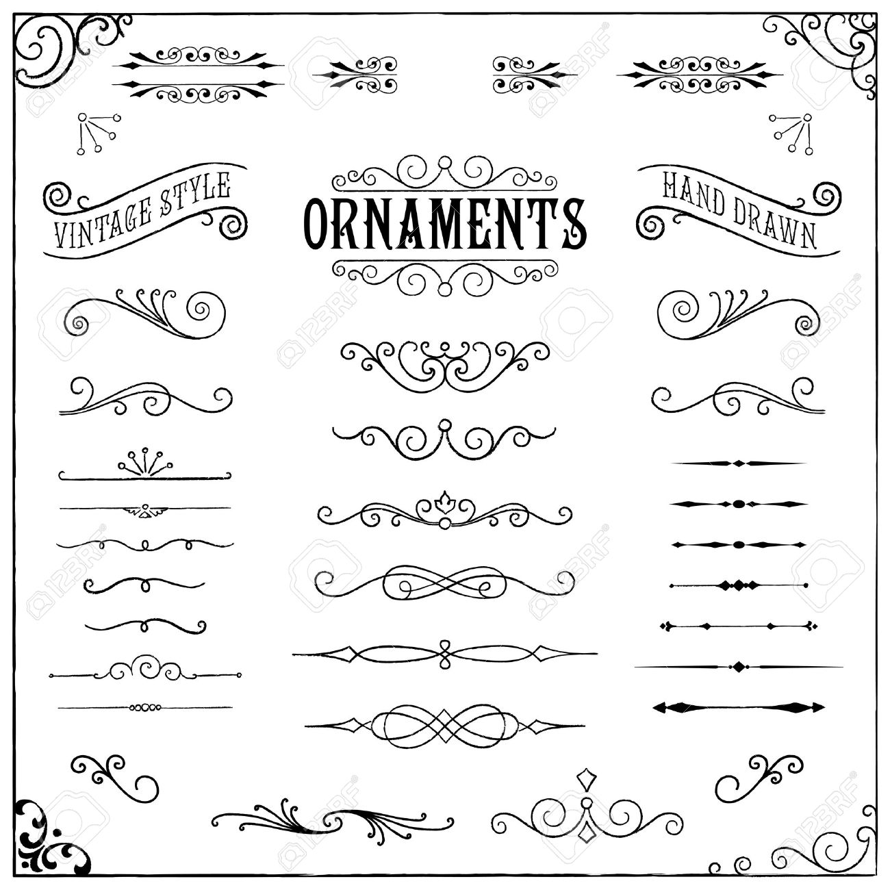 Vintage Ornaments - Collection of hand drawn vintage ornaments Stock Vector - 39086942
