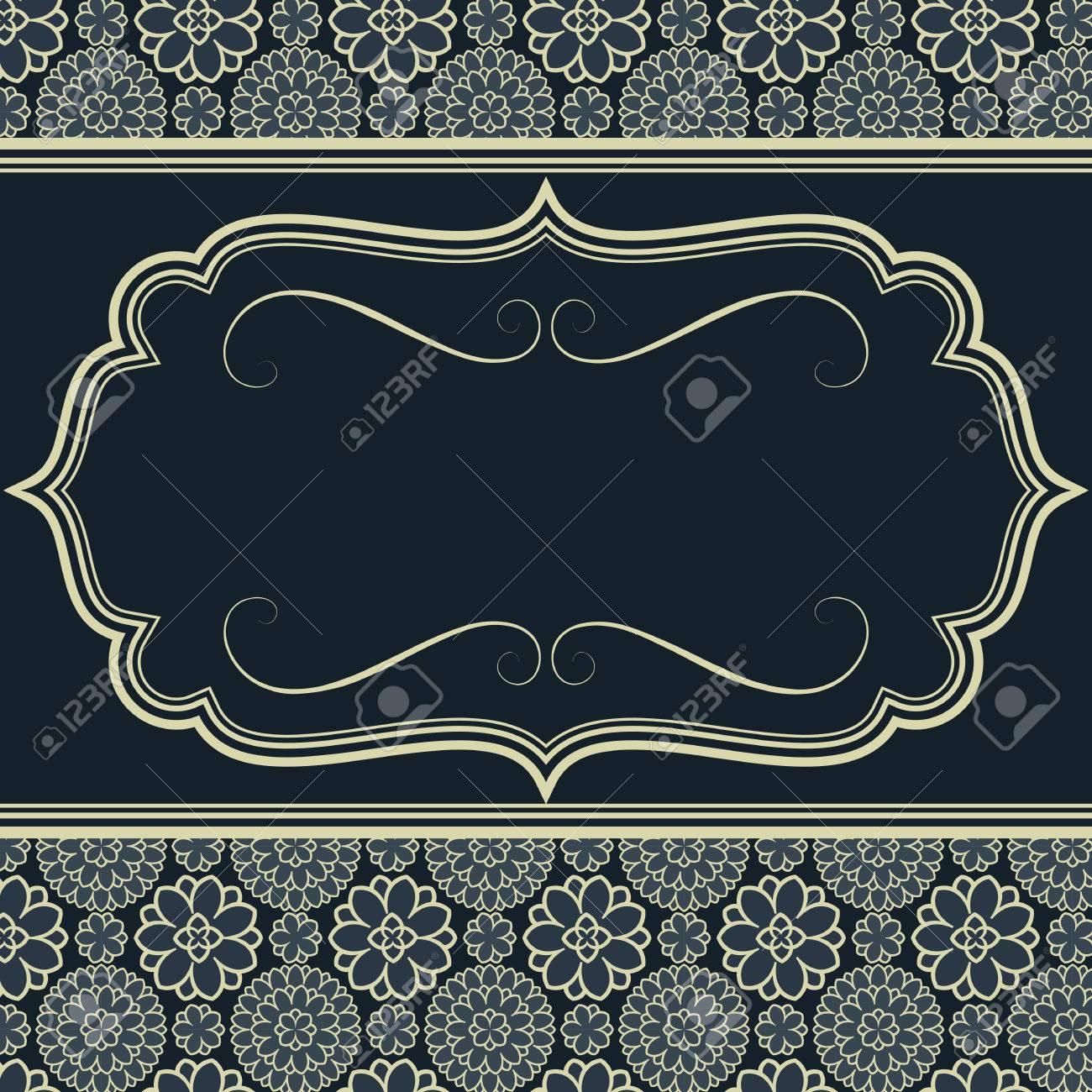 Diseño Azul De La Invitación - Marco En El Fondo Sin Fisuras Del ...