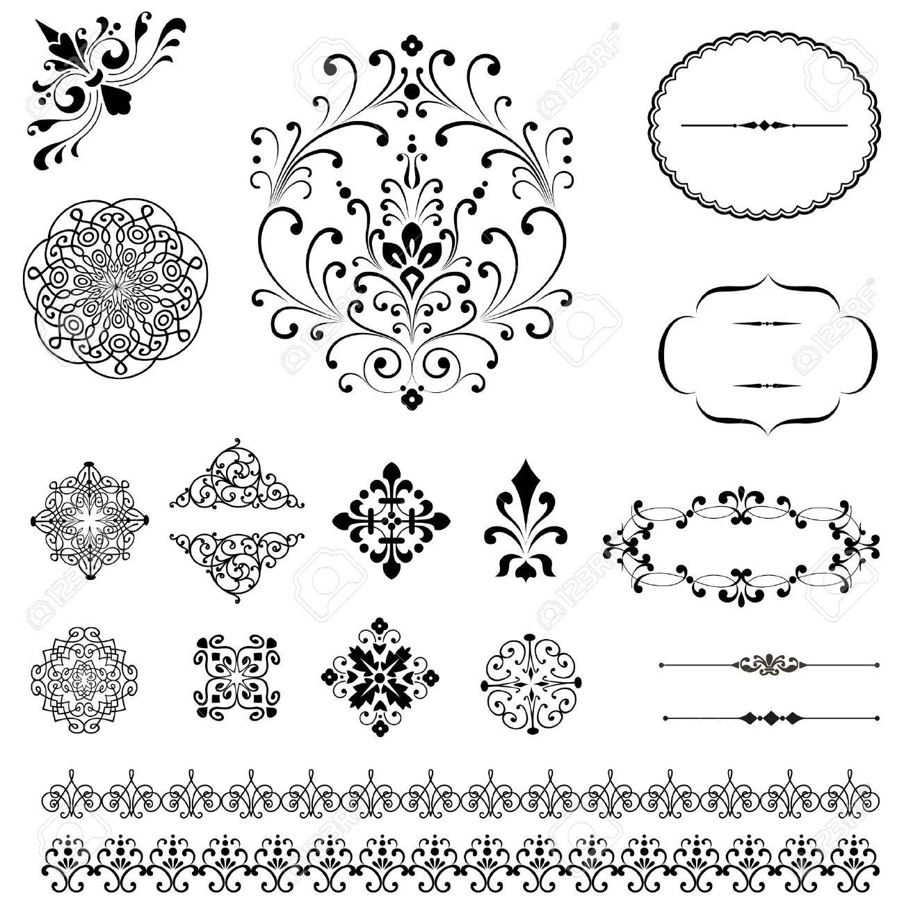 ornaments u0026 borders set set of black vector ornaments repeating