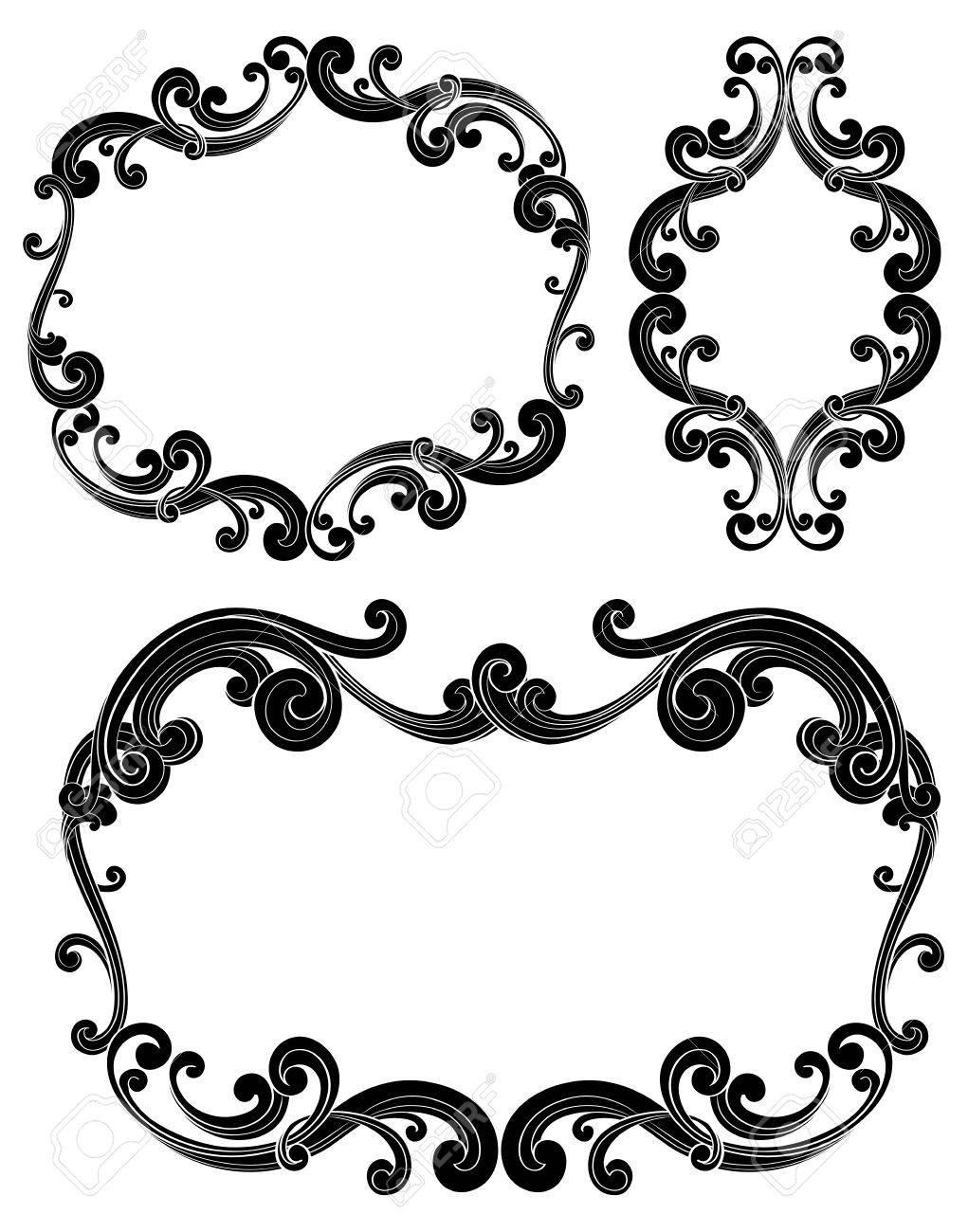 Ornate Scroll Frames - Set Of Three Isolated Black Scroll Frames ...