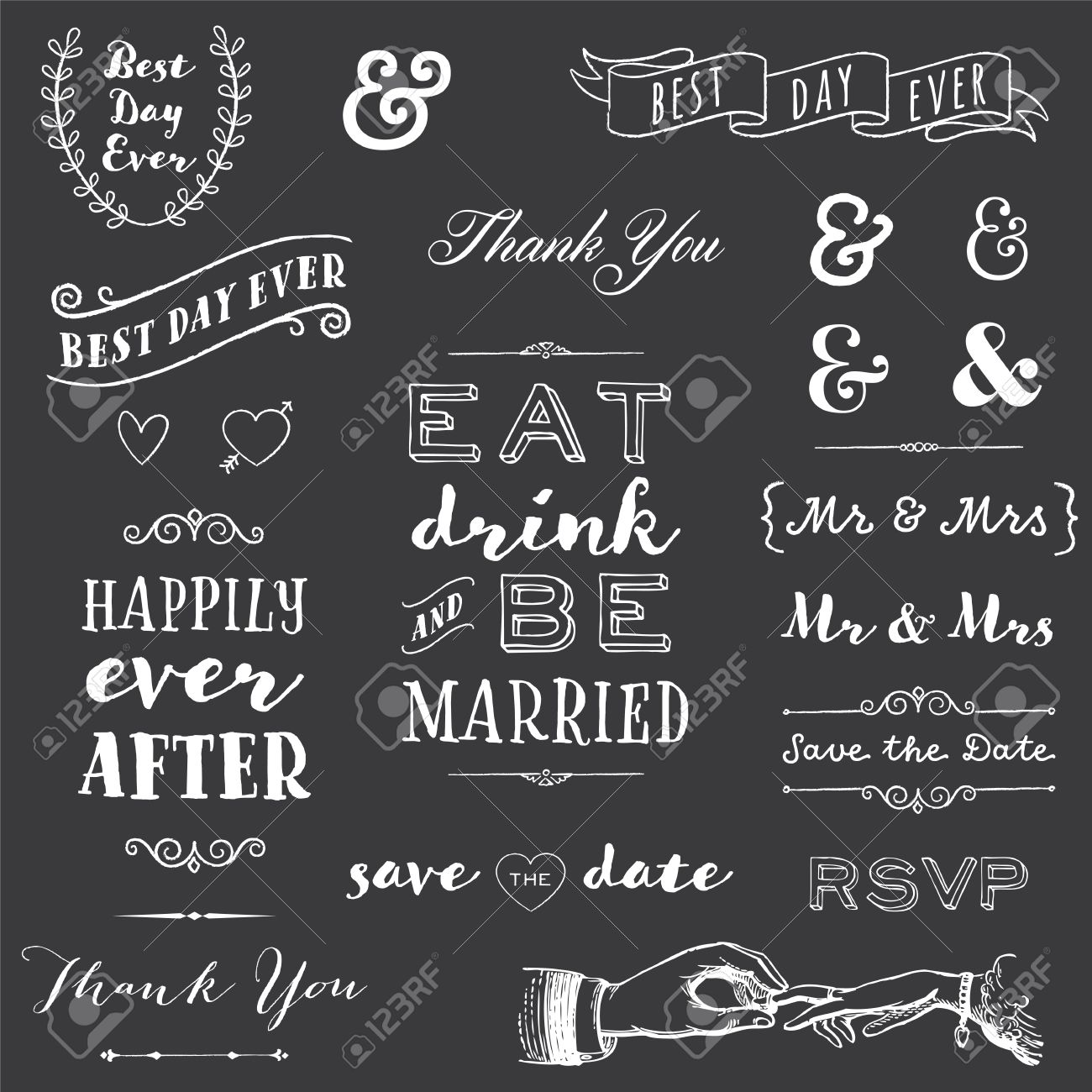chalkboard wedding typography collection of chalk wedding typography messages and graphics stock vector 46975786