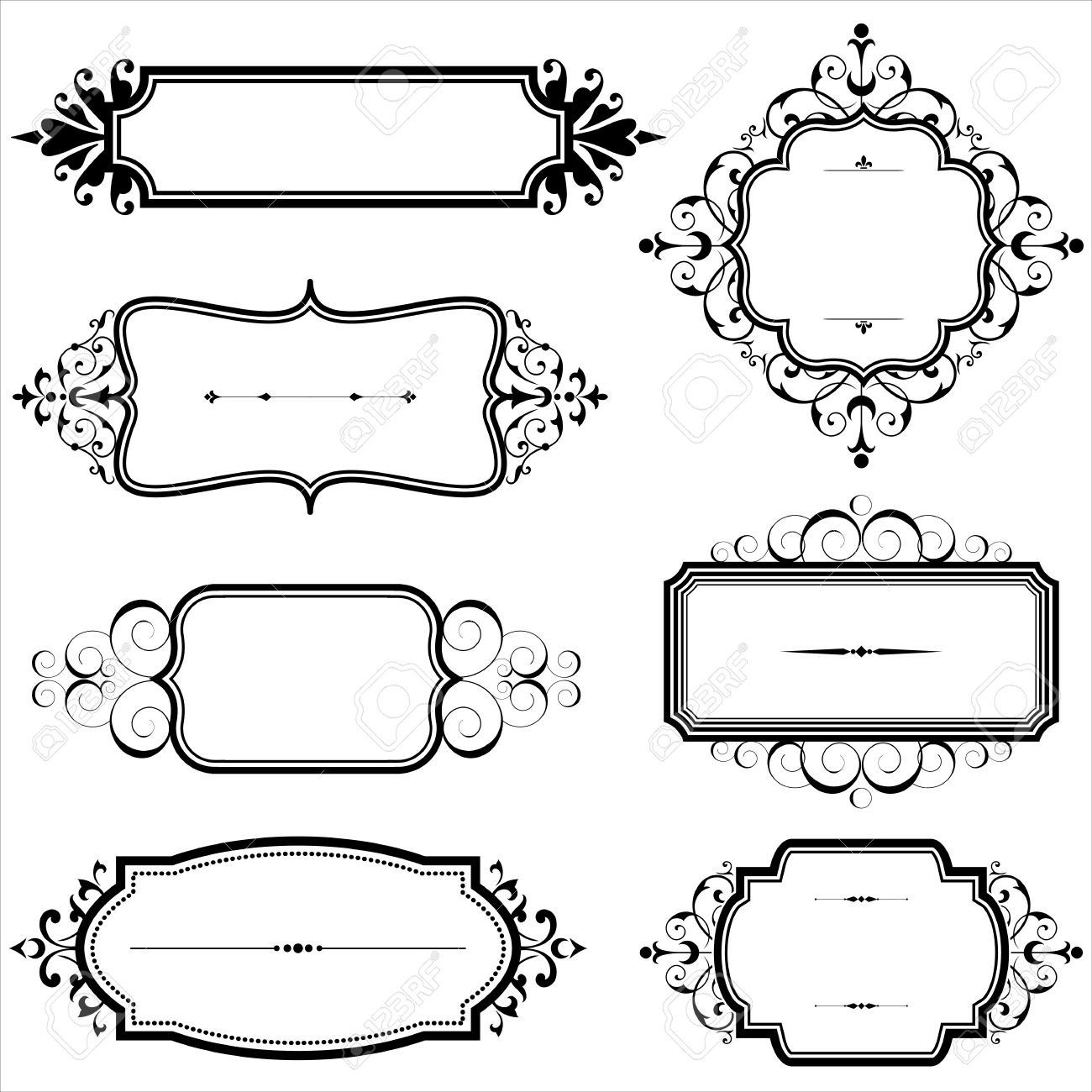 Vintage Frames With Scrolls - Set Of Vintage Frames With Scroll ...
