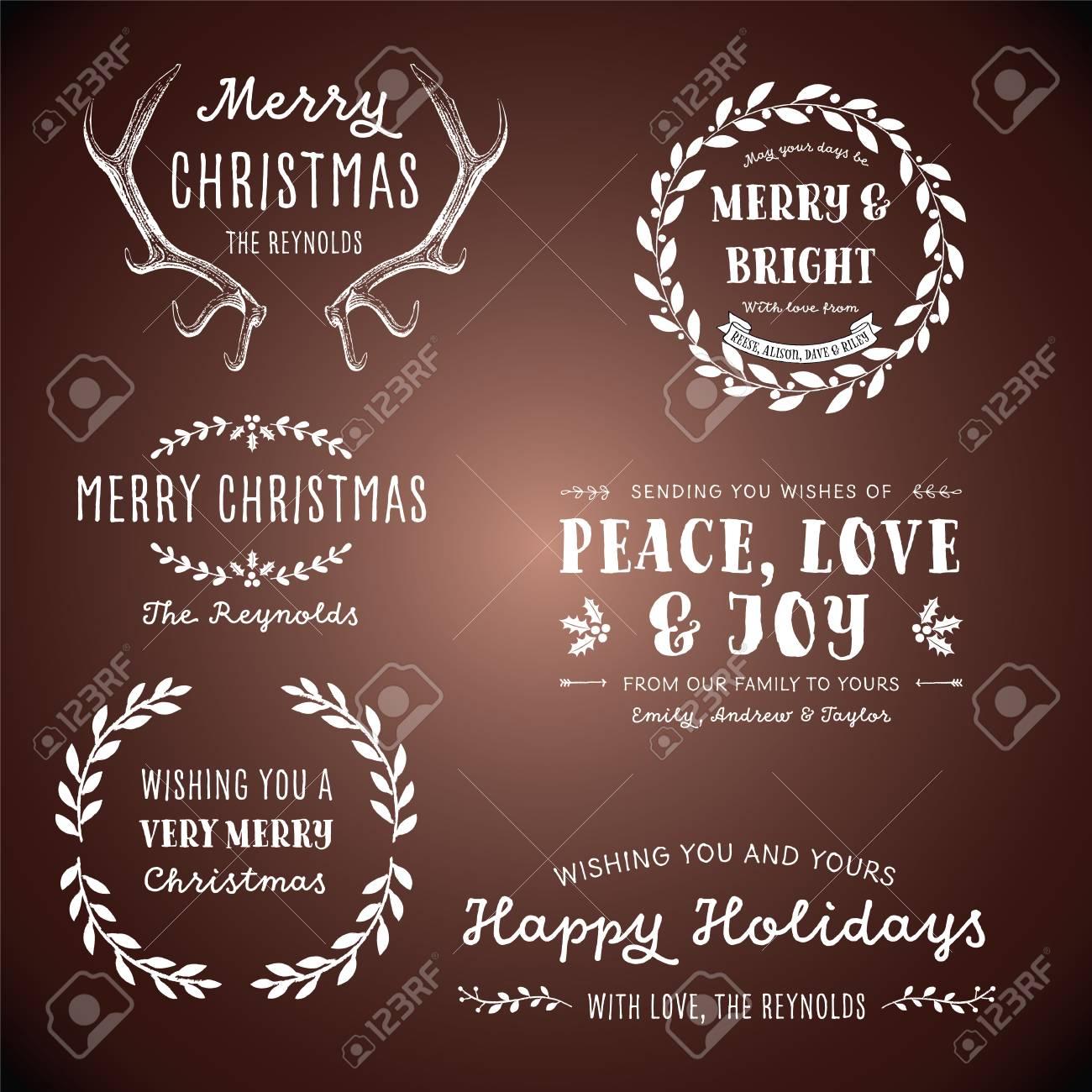 Weinlese-Weihnachten Designs - Set Vintage Christmas-Motiven ...