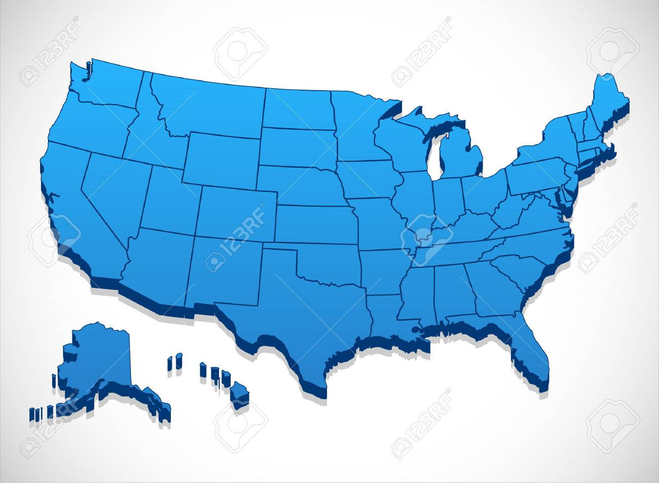Us Map In 3d United States Of America Map   3D Illustration Of United States