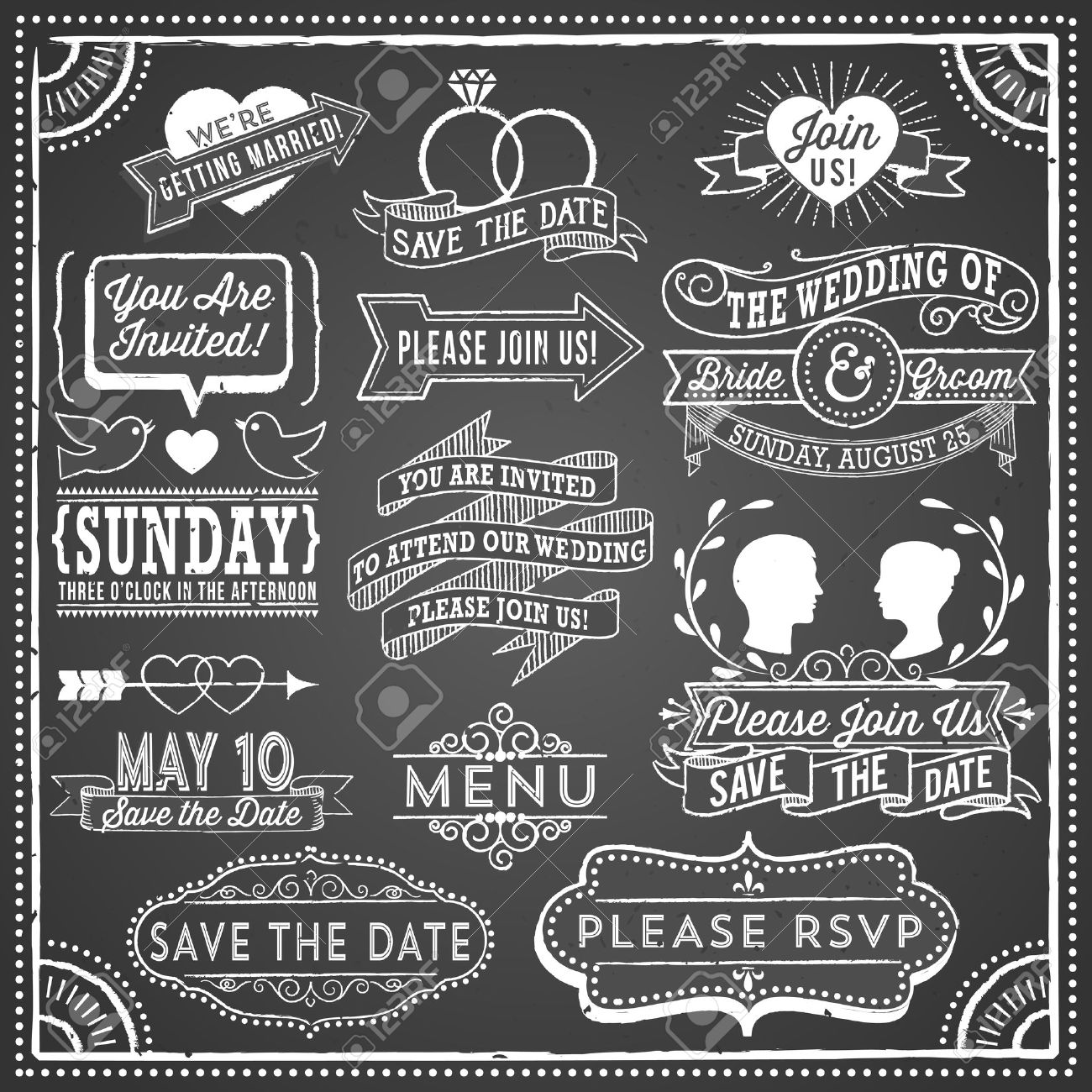 Chalkboard Wedding Invitation Elements - Retro and hand-drawn vintage chalkboard invitation elements. File is layered, each object is grouped separately and colors are global for easy editing. Texture can be removed. - 54030507