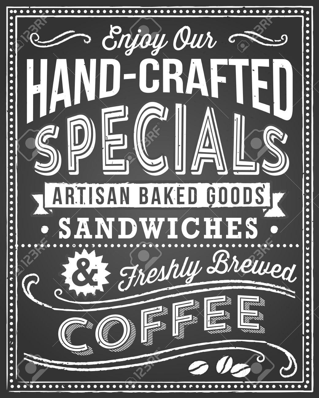 Chalkboard Menu Background - Retro And Hand-drawn Vintage ...