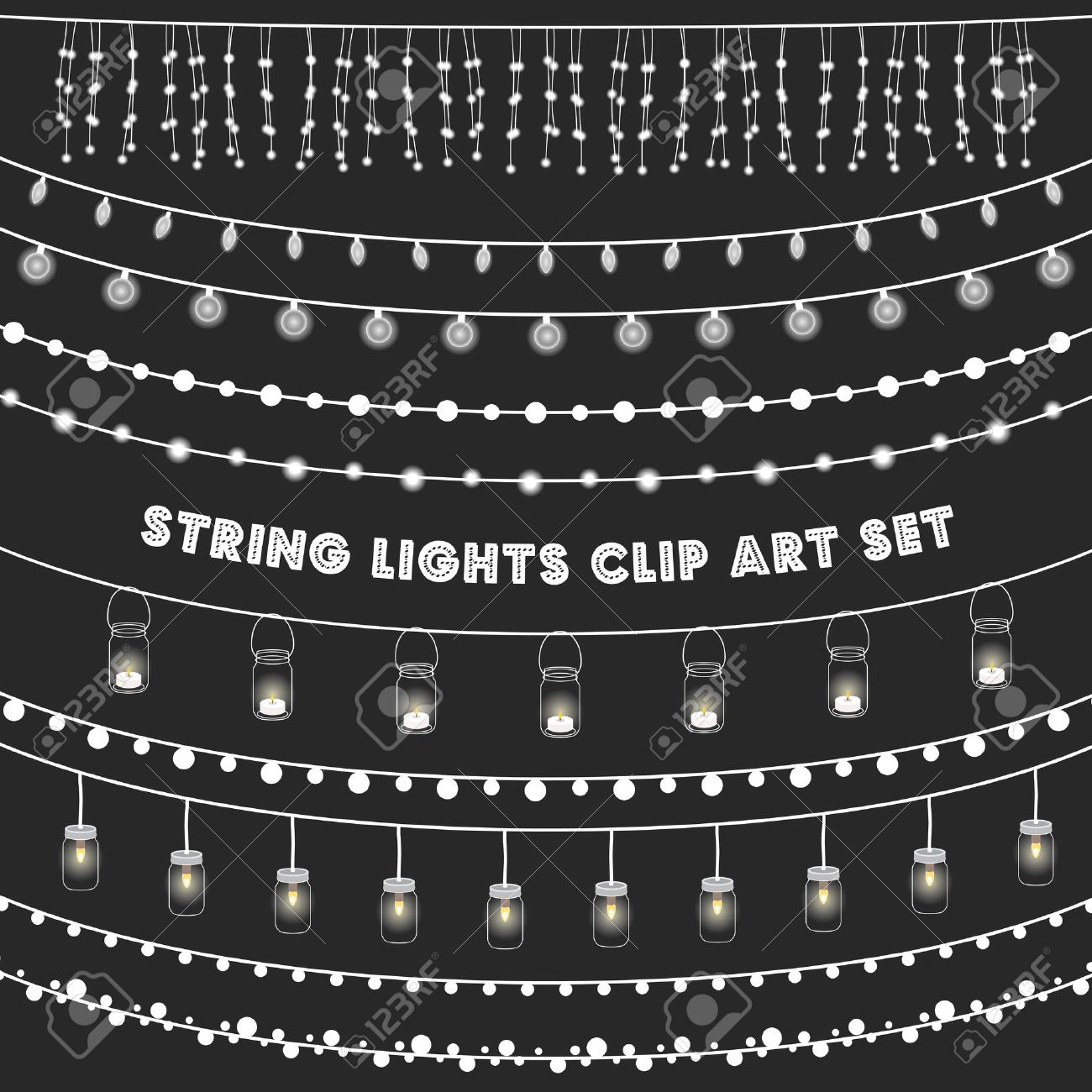 Chalkboard String Lights Set - Set of glowing string lights on a chalkboard grey background - 56933579