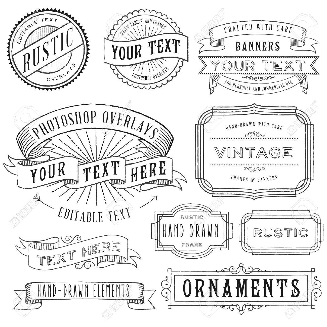 Rustic Frames Set - Rustic Vintage Frames And Banners Set Royalty ...
