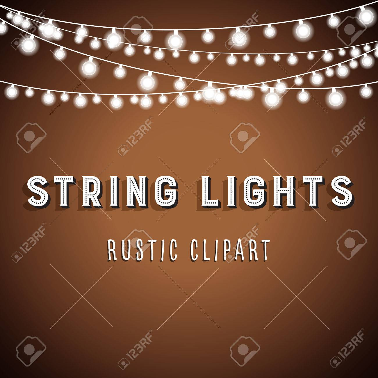 Rustic String Lights Background - Rustic String Lights Vector Clipart 10 - 64751674