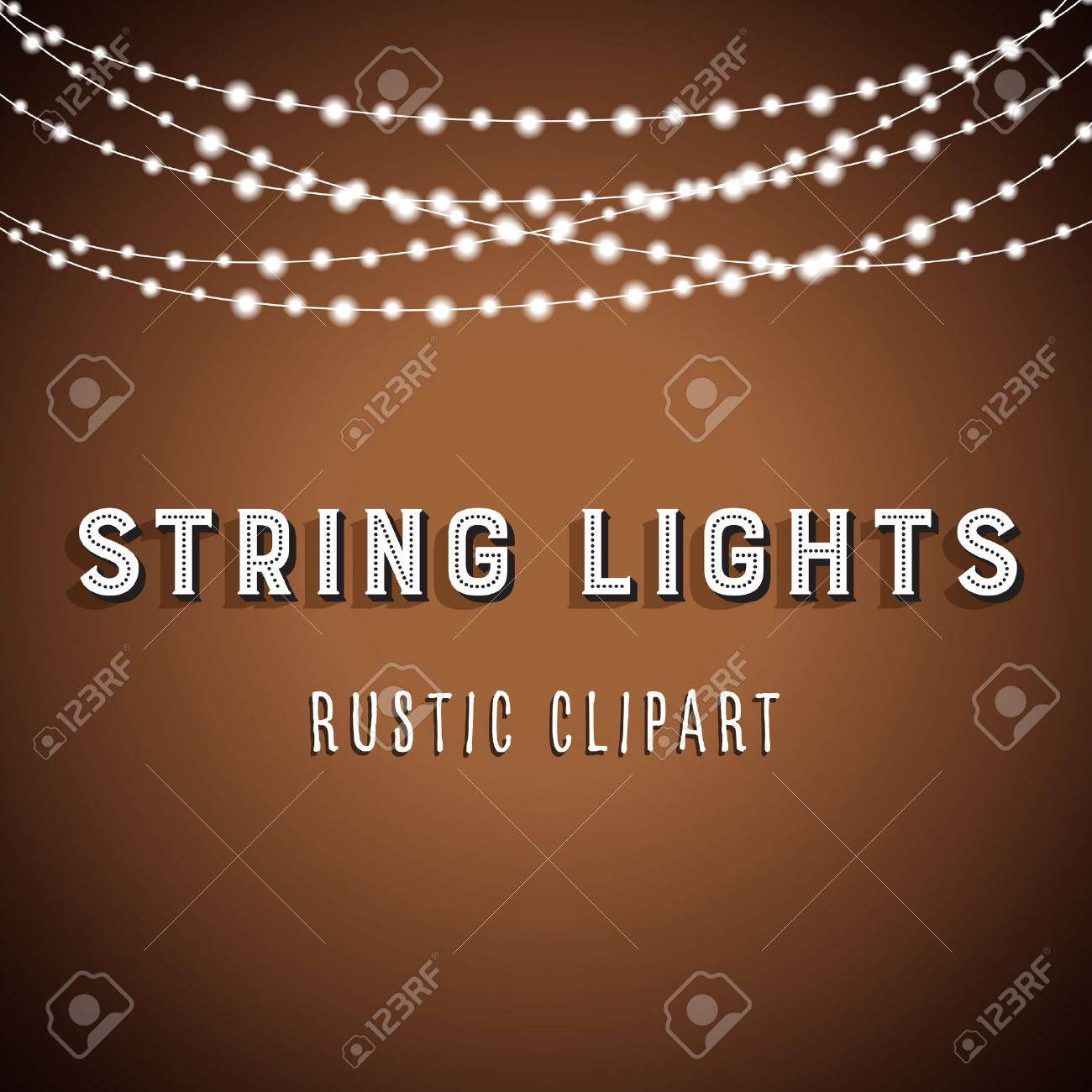 Rustic String Lights Background - Rustic String Lights Vector Clipart 10 - 64751675