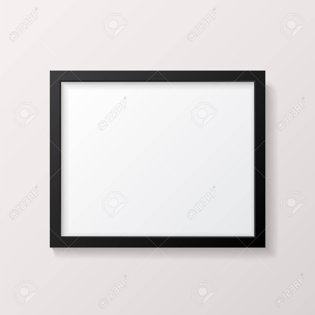 Realistic Empty Black Picture Frame Mockup Realistic Empty