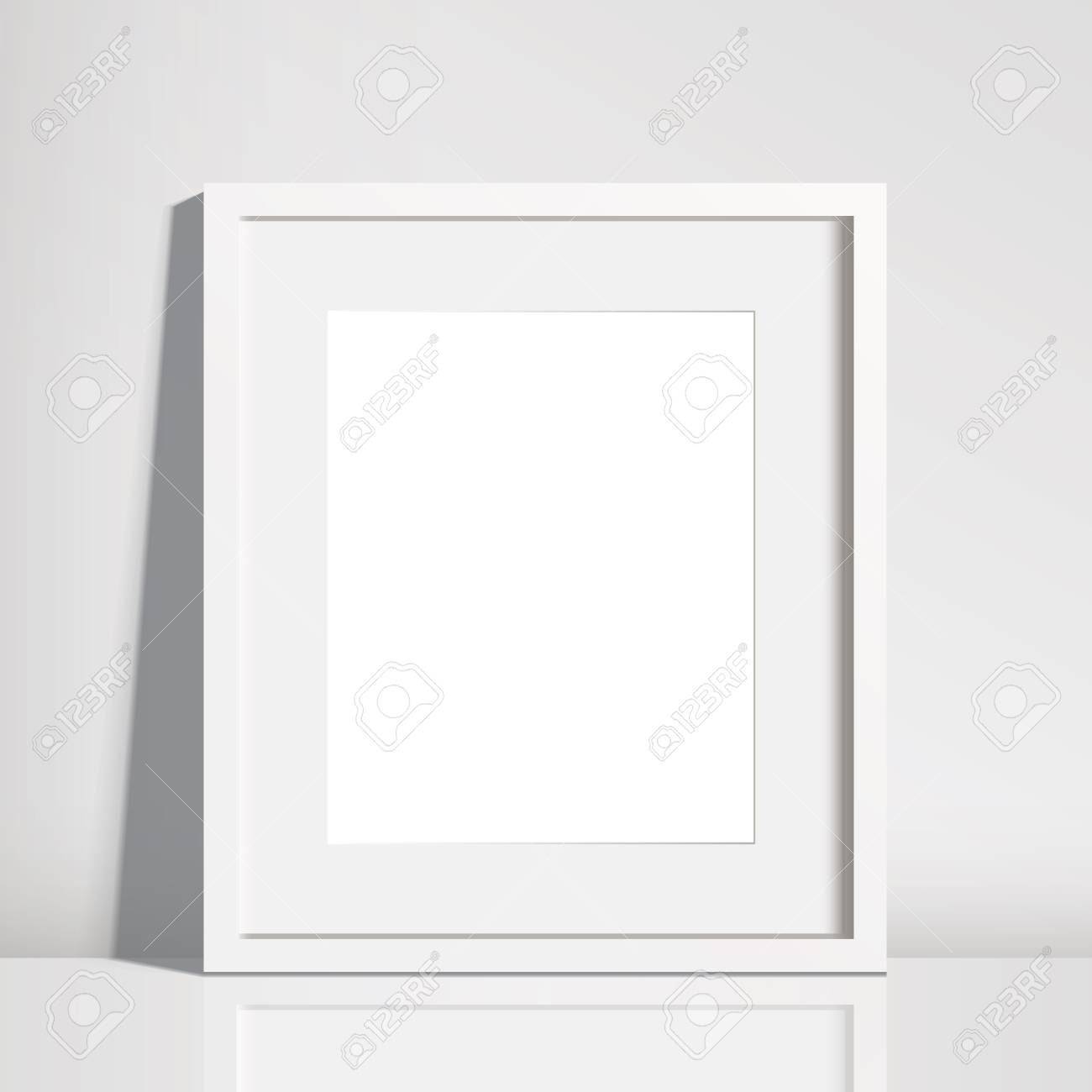Realistic Empty White Picture Frame Mockup - 8x10 Inch Picture ...