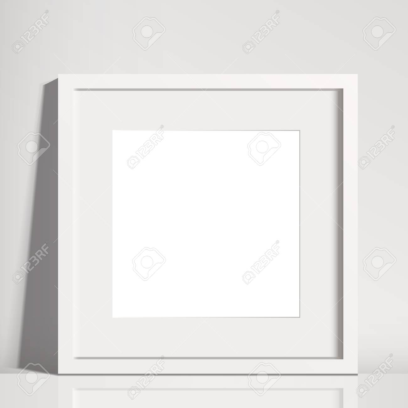 Realistic White Square Matted Picture Frame Mockup - Realistic ...
