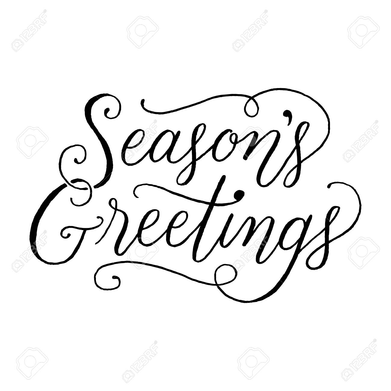 Seasons Greetings Hand Lettering Message Isolated On A White