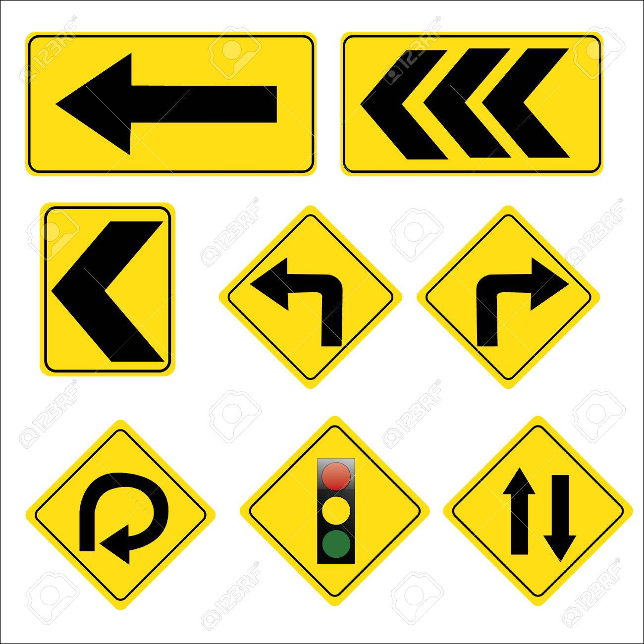yellow road signs traffic signs vector set on white background rh 123rf com road sign vector illustrator vector signboard free download
