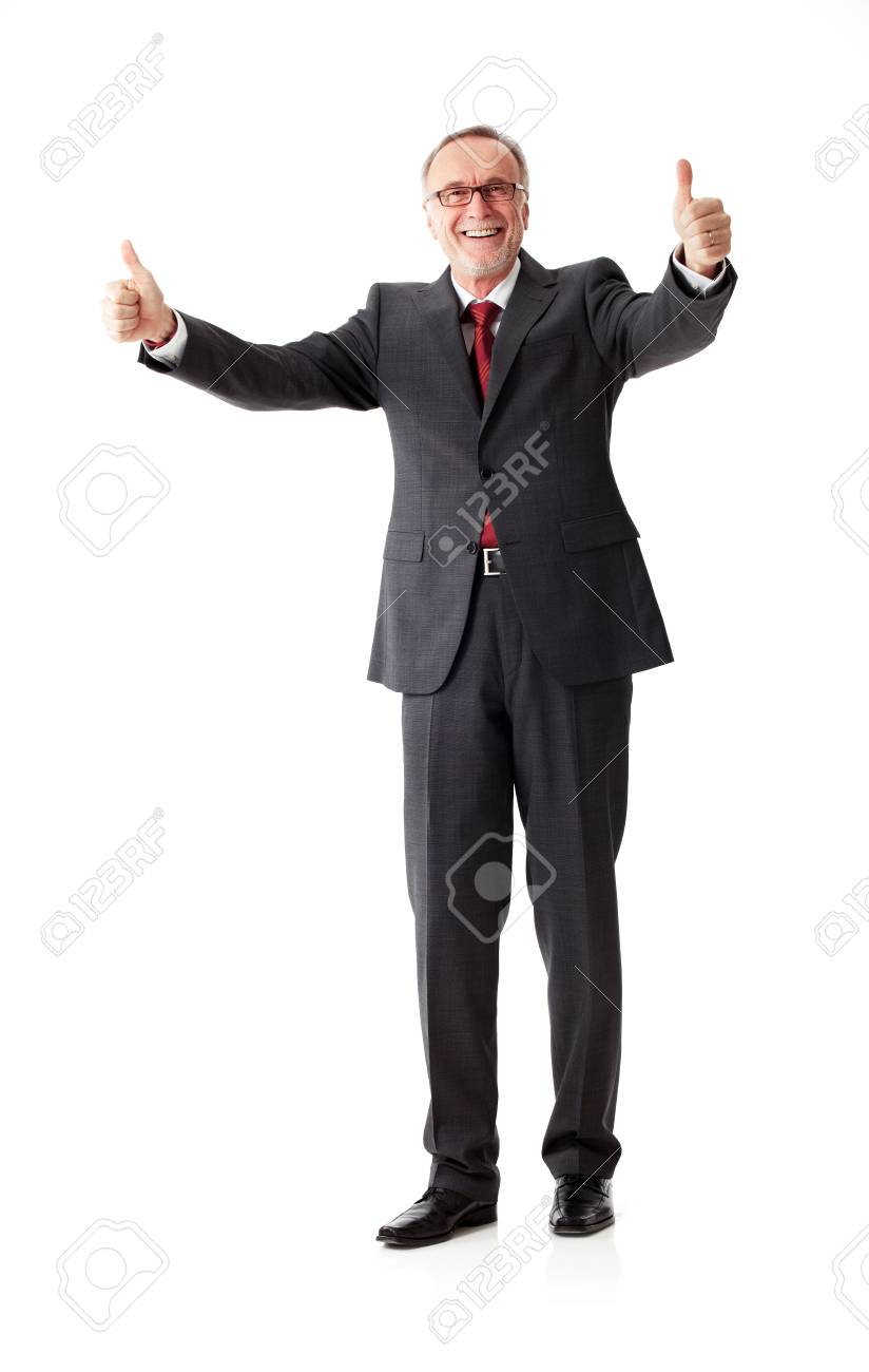 mature business man with thumbs up stock photo, picture and royalty