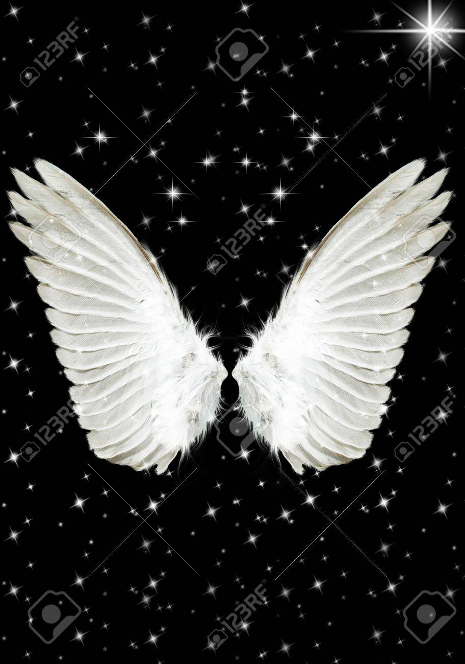 Nice big white angels wings in the night stock photo 6292498