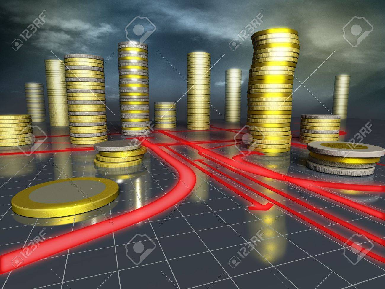 3d image of skyscrapers city made up of coins Stock Photo - 11177579