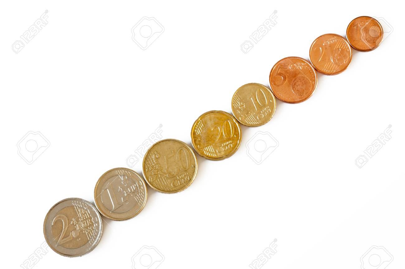 Mehrere Euro Münzen Von Unterschiedlichem Wert Lizenzfreie Fotos