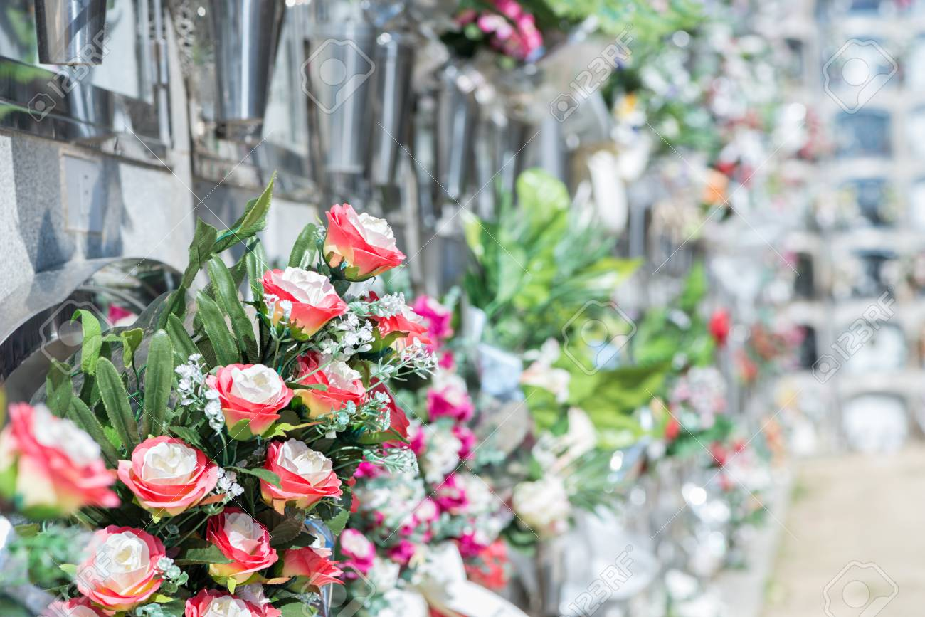 Detail Of A Bouquet Of Flowers In A Cemetery Stock Photo Picture
