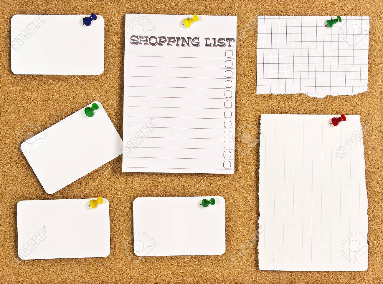 A corkboard interface with pinned items. Stock Photo - 7689143
