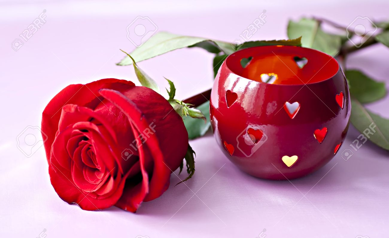 Beautifull Red Rose With Romantic Heart Shaped Candle Holder Stock